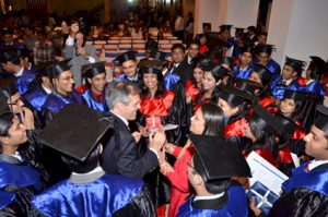 H.E. Ambassador Steiner intermingling with the graduating students