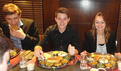 Students enjoyed the lavish Thali dinner at Thackers