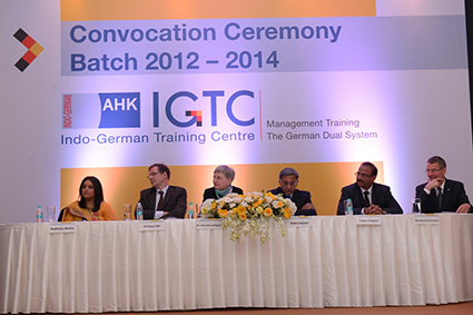 Dignitaries on the dias (l-r): Ms. Radhieka R Mehta, IGTC Director, Mr. Michael Ott, Deputy Consul General, German Consulate General in Mumbai, Prof. Dr. Dorothea Wagner, Vice-President, German Research Foundation, Mr. Baba Kalyani, Chairman and Managing Director, Bharat Forge Limited , Mr. Tapan Singhel, Vice-President, IGCC and Managing Director and CEO, Bajaj Allianz General Insurance Co., Mr. Bernhard Steinruecke, Director General, Indo-German Chamber of Commerce