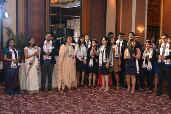 Ms. Radhieka Mehta, Director, IGTC, joins in the IGTC Anthem along with IGTC staff members and students