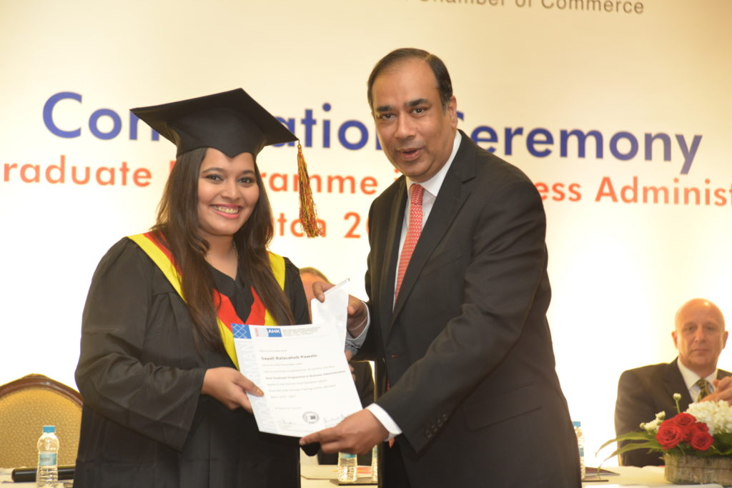 16 (8) Sayali Pawale, from PGPBA Batch 2015-2017, recruited by DBOI Global Services Pvt. Ltd. receives her certificate from Sunil Mathur, MD and CEO, Siemens Ltd.