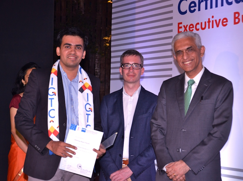 Chinmay Pandit, Deputy Manager, Thyssenkrupp Indistries India Pvt. Ltd. receives his certificate from Frank Hoffmann, Regional Director, Indo German Chamber of Commerce, Pune and Ravi Kirpalani, Managing Director and CEO, ThyssenKrupp India Pvt. Ltd.