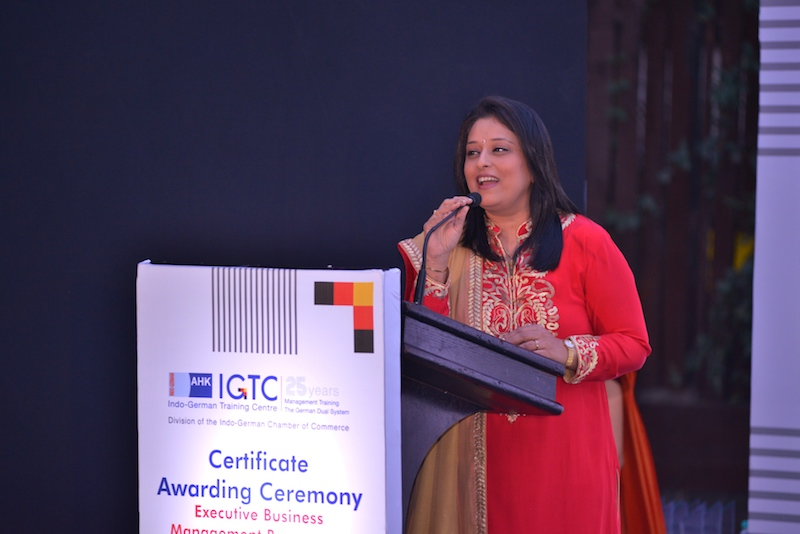 3. Radhieka Mehta, Director, Indo-German Chamber fo Commerce welcomes the Dignitaries, Corporate Partners, Faculty and EBMP Pune Participants