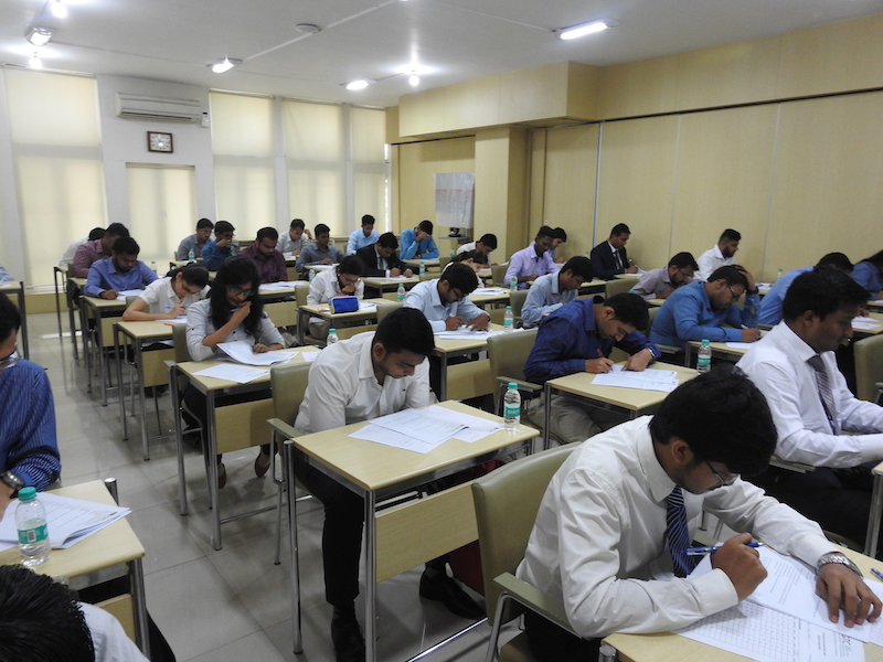 Applicant giving the written test