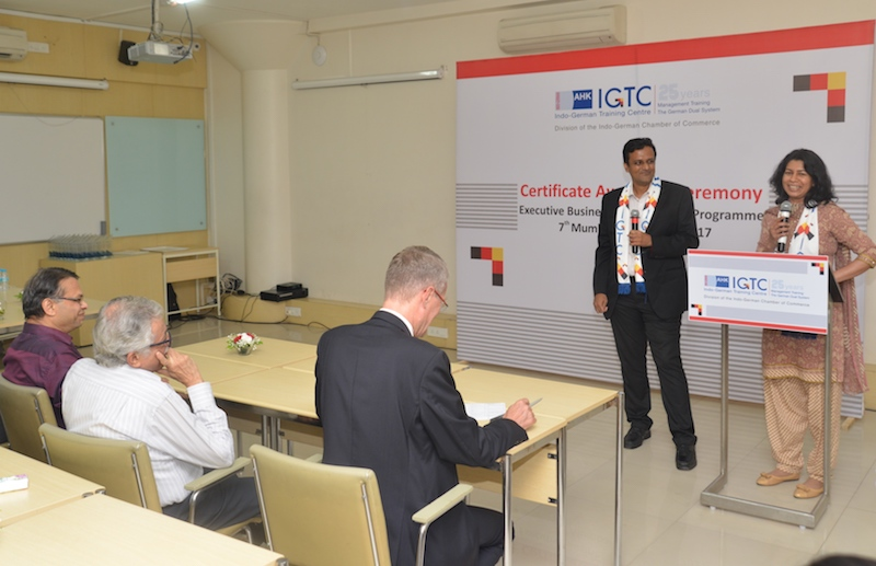 First-time ever married couple in the IGTC classroom - Jamila Kottakkal, Senior Vice President, Reliance Life Sciences Pvt. Ltd. and Ananth Subramanian, IT Consultant and Entrepreneur.