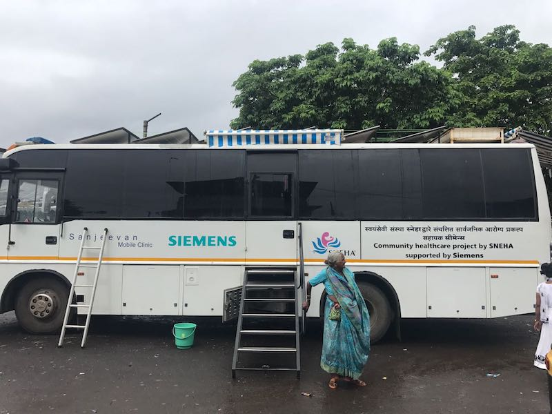 A mobile clinic provided by Siemens to the NGO SNEHA
