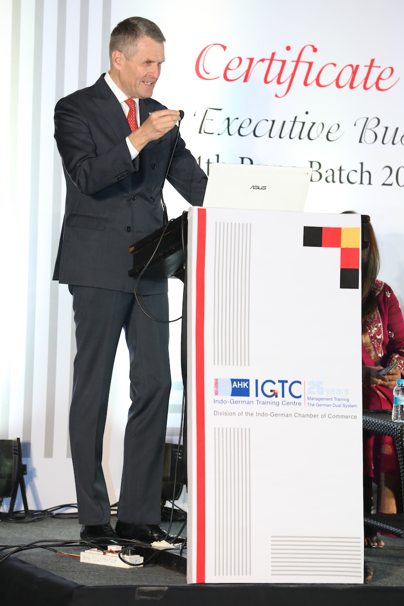 Bernhard Steinruecke, Director General, Indo-German Chamber of Commerce gives the welcome address