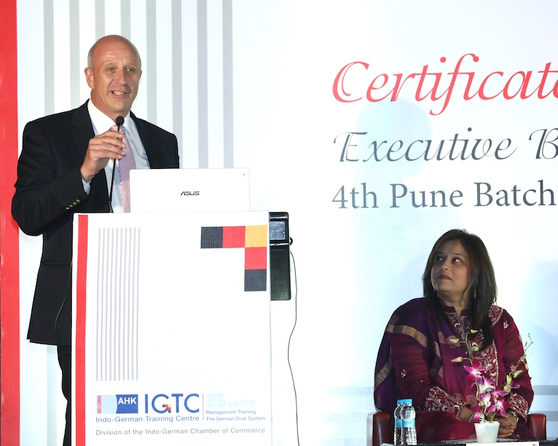 Juergen Morhard, Consul General, German Consulate General in Mumbai addresses the audience