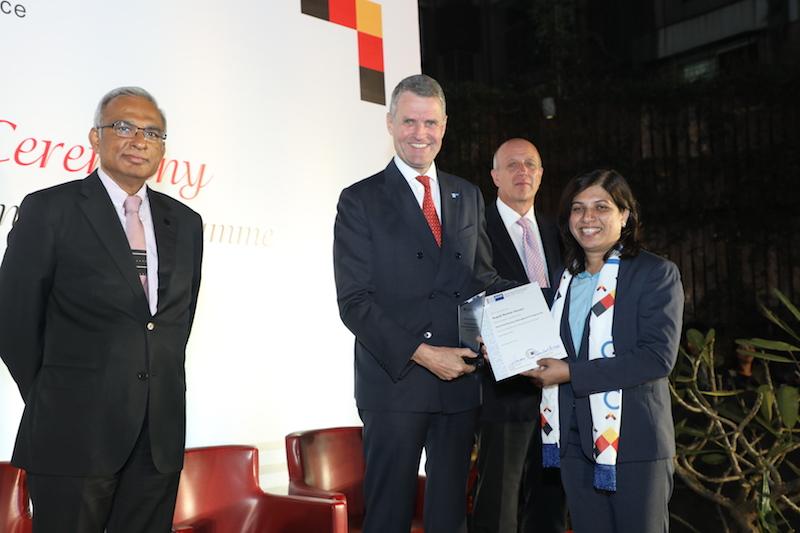 Rupali Gosavi, Senior Manager, INA Bearings India Pvt. Ltd. receives her certificate from Bernhard Steiruecke, Director General, IGCC